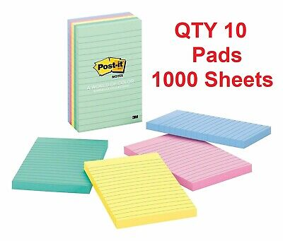 Post-it Notes 4 In X 6 In Marseille Collection 10 Lined Pads 1000 Total Sheets