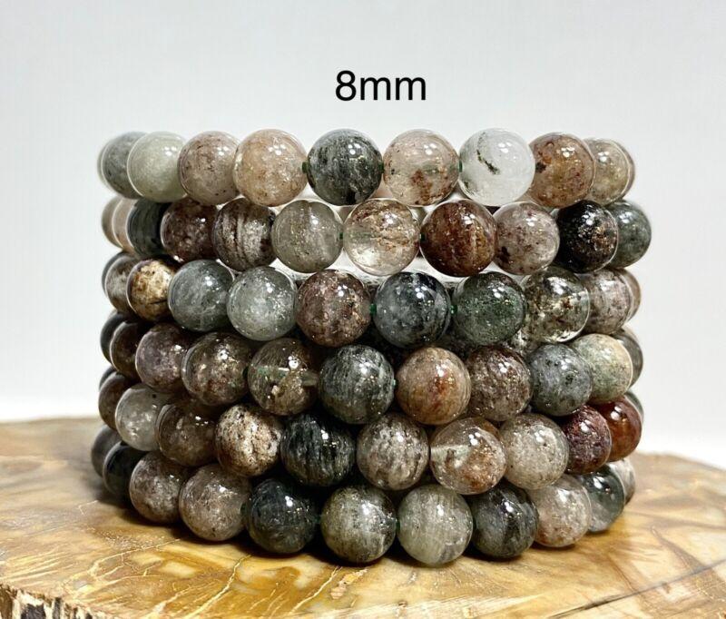"Wholesale 6 Pc Natural Lodalite Phantom Garden Quartz 8mm 7.5"" Stretch Bracelet"
