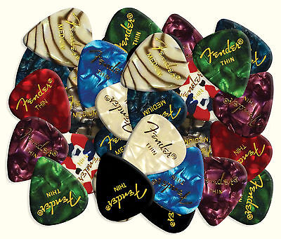 24 X Mixed Fender Guitar Plectrums for Electric or Acoustic Premium Celluloid