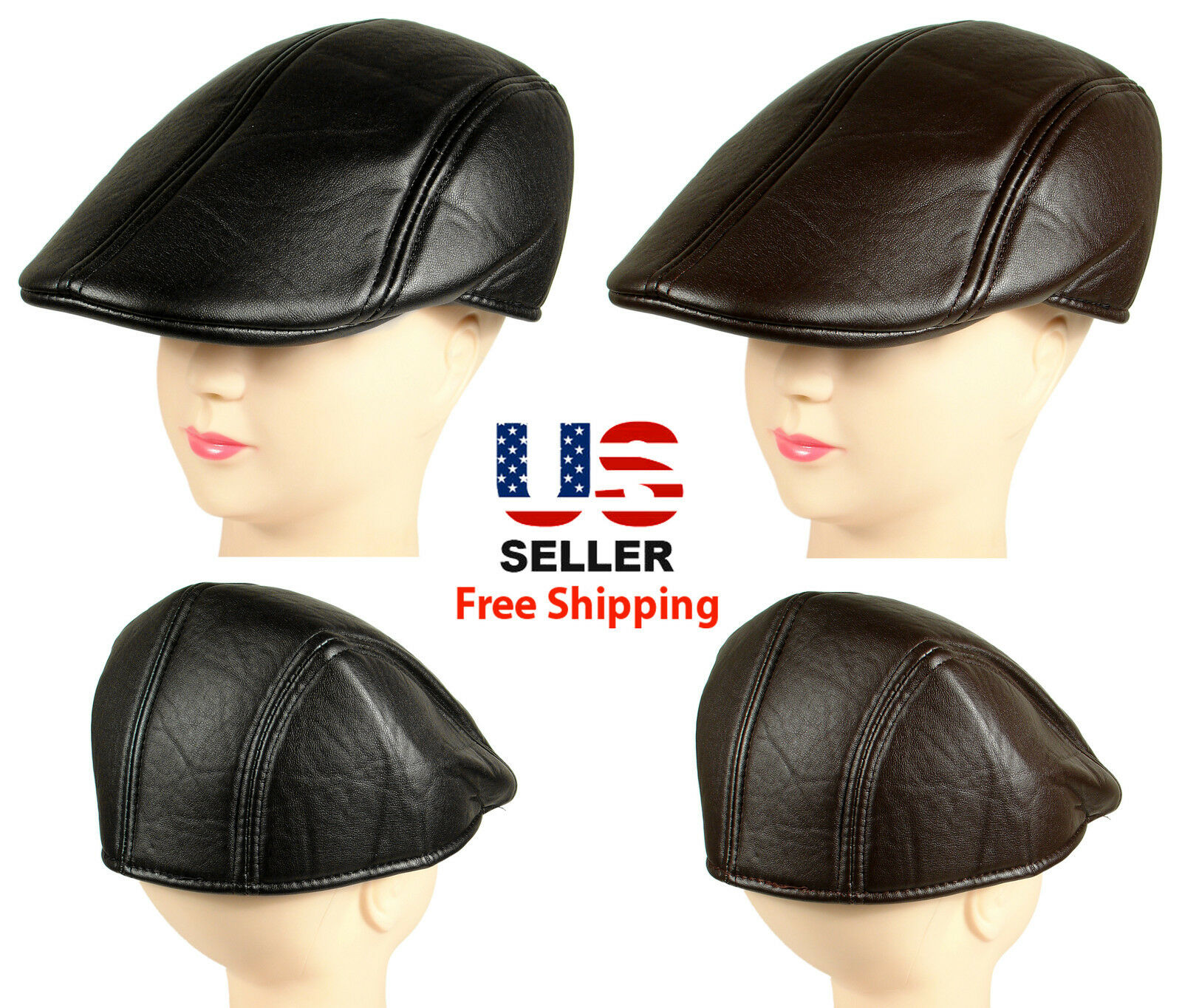 Mens Ivy Cap Black Gatsby Newsboy Faux Leather Hat Golf Driving Flat Hat NEW Clothing, Shoes & Accessories