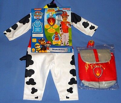 Marshal Paw Patrol Costume 2T-3T;Fireman;Dalmatian;Hat-Pup Pack-Whistle-LOT-4
