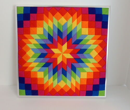 Rainbow Embroidery Star Patchwork Lancaster Pa Amish Country Art Wall Hanging