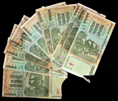 10 x Zimbabwe 20 Billion Dollar banknotes-2008/AA&AB/DAMAGED CONDITION