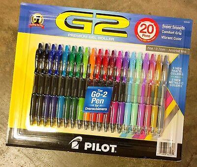 Pilot G2 Premium Gel Roller Ink Fine Point 0.7mm Pens Assorted Color - 20 Pack