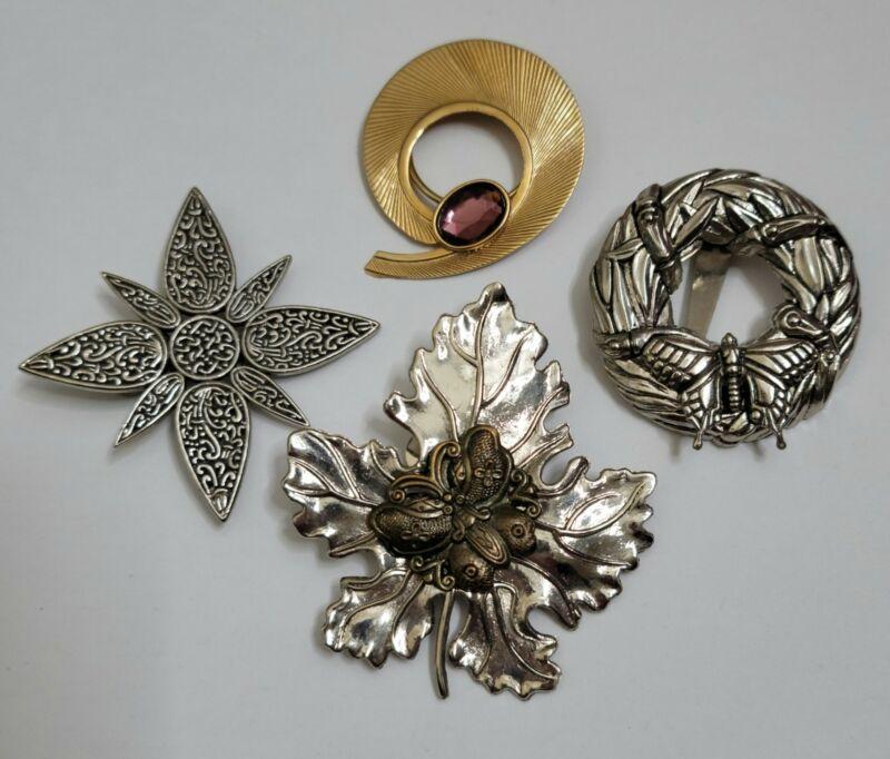 Lot Of 4 Vintage Scarf Clips: 2 John Hardy, Sylvia Dahl, Jeri Lou