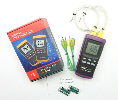2 Input Digital K-type Thermometer For Pottery Kiln Furnace Forge Dt1312 Pk1000