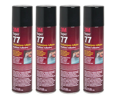 Qty4 3m Super 77 7.3oz Spray Glue For Foil Plastic Paper Foam Metal Fabric