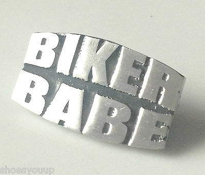 "BIKER BABE ""Transport"" Hand Made in UK Pewter Lapel Pin Badge"