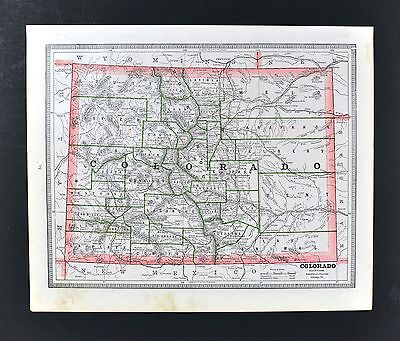 C 1883 Geo Cram Map   Colorado Denver Pueblo South Park Springs Gunnison Boulder