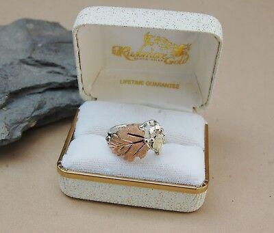 Black Hills Gold Sterling Silver Ring - Mt Rushmore Black Hills Gold Ring Sterling Silver & 12k Rose & Green Gold 7 1/2
