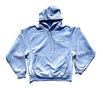 Vintage 90's Champion Reverse Weave Hooded Sweatshirt Ash Gray Size M