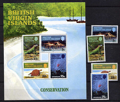 Virgin Islands 346-9a MNH Conservation, Iguana, Turtle, Coral, Lobsters