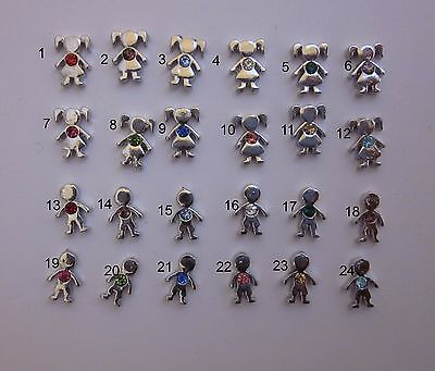 BUY 5/GET 10 FREE! Silver Birthstone Girl/Boy Floating Charms for Glass Locket](Floating Charms For Lockets)