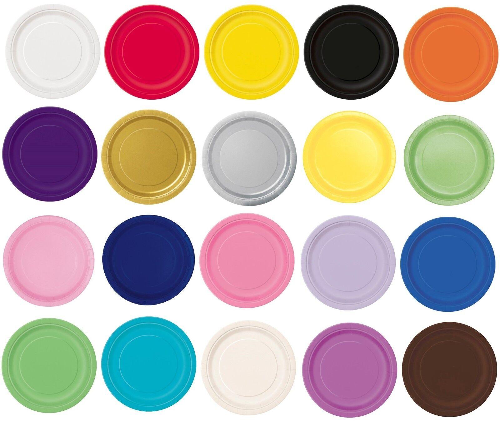 50.8x17.8cm piatti di carta rotondi (17cm) tinta unita colori solidi festa