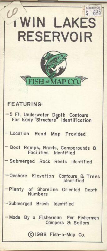 Fish-n-Map Co. TWIN LAKES RESERVOIR c.1988 Colorado