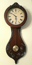 BULOVA WALL HANGING CHERRY WOOD PENDULUM CLOCK