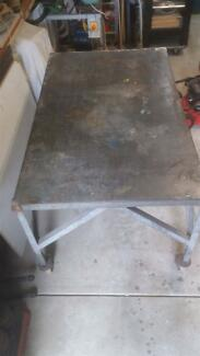 Galvinised steel mobile work table / bench.