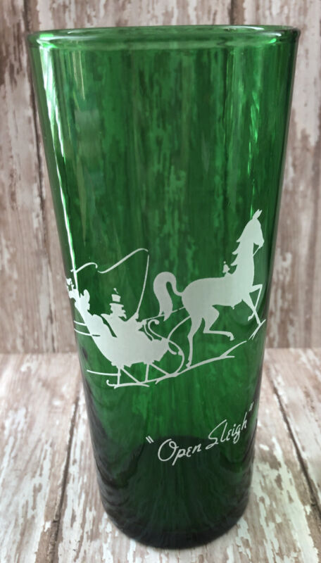 Vintage Anchor Hocking Green Drinking Glass Open Sleigh