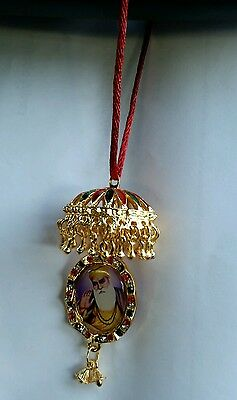 Gold Plated Sikh Guru Nanak Golden Temple Pendant Chabba Car Rear Mirror Hanging