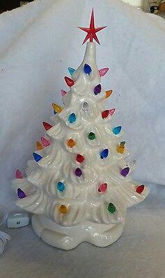 Ceramic Christmas white Tree Vintage. Ribbon base New made in USA