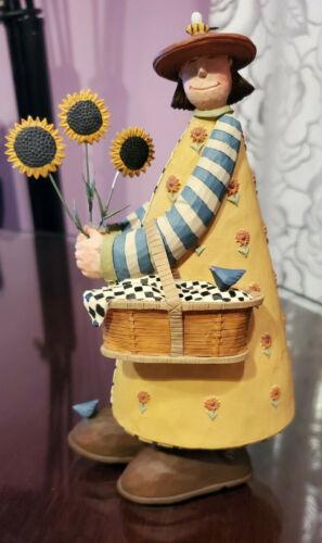 Williraye Studios Collectible Figurine - Woman with Sunflowers And Basket WW7725
