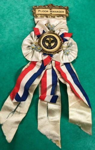 """Vintage F.O.E. Fraternal Order of Eagles Medal Ribbon Badge """"Floor Manager"""" RARE"""