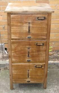 Antique / retro Timber 3-drawer filing cabinet for restoration