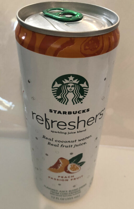 Starbucks Refreshers Can Peach Passion Fruit Coconut Water 12 Oz