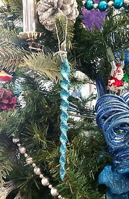Dark Teal Blue Ice Cycle Ornaments: Set Of 6 Pieces, Christmas Tree Icicle Ornie ()