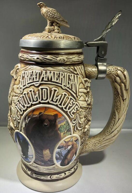 "1995 Avon Pewter Lidded Stein ""Tribute To American Wildlife"""