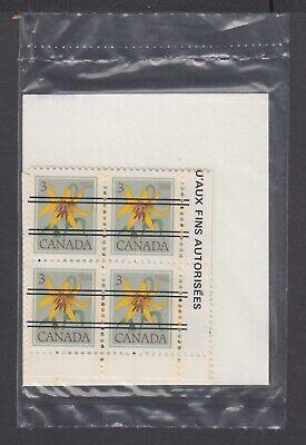 CANADA SEALED PLATE BLOCKS 708xx PRECANCELLED FLORAL DEFINITIVES, CANADA LILY