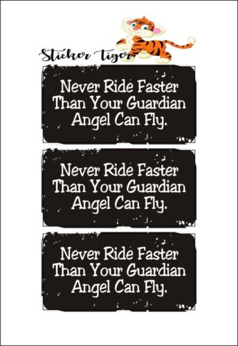 3 Never Ride Faster Than Your Guardian Angel Can Fly Hard Hat Helmet Sticker