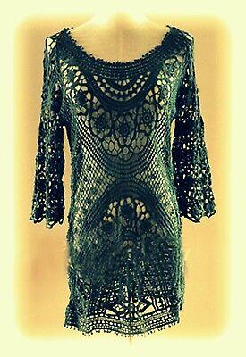 Lace♡Crochet♡Celebrity Style♡Black Sexy Dress♡Beach Dress♡Tunic (Celebrity Beach Style)