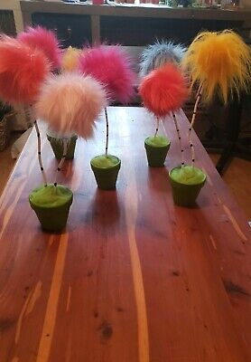 (1) DOUBLE Dr Suess Lorax Truffula Tree Party decor gift prop Birthday Lorax  - Dr Suess Birthday Decorations