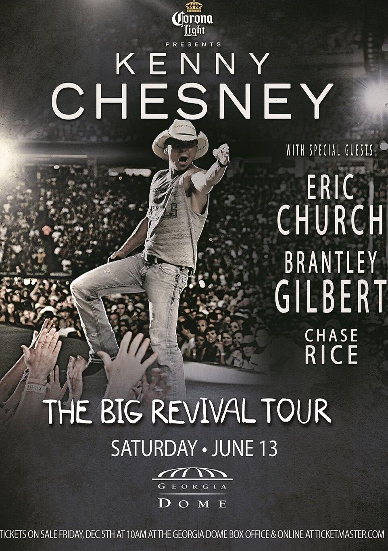KENNY CHESNEY / ERIC CHURCH / CHASE RICE BIG REVIVAL TOUR 2015 ATLANTA POSTER - $10.99