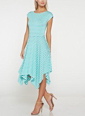 Mint & White Stripe Handkerchief Jersey Dress (Mint Chevron)