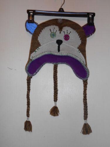 Knit Critter Fleece Lined Ladies Monkey Hat Brown One Size