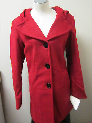 Liz Claiborne Hooded Wool Coat Jacket M Red $220