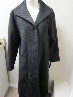 Jones York Single Breasted Alpaca Wool Long Coat 6 Black