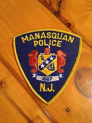 Vintage patch large (Collectors Only) Manasquan N.J. Police iron-sew-on unused