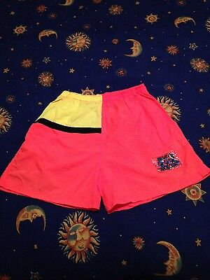 "Vintage 80s Neon Surf Shorts ""Surf Mania"" size S/M swimwear surfer ""RAD LOOK"""