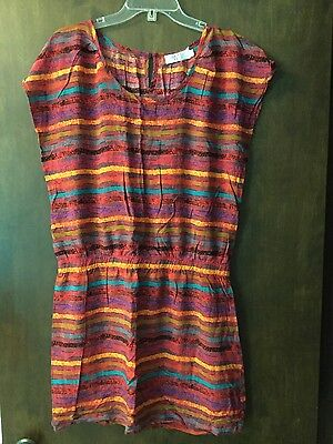 Funky People Red Multi-Color Stripe Rayon Elastic Waist Tunic Blouse (Size XL) Funky Multi Color