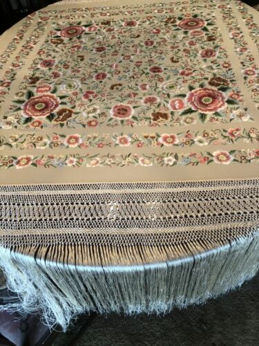 Superb Silk Embroidered Piano Shawl with Silk Macrame and Fringe  BEAUTIFUL