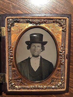 Rare Melungeon Man w Top Hat ~c.1870 Ambrotype~Appalachia~Native American~Negro
