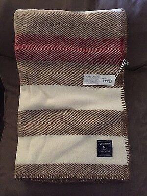NEW Faribault Woolen Mill Company Wool Throw Blanket, Striped, Chestnut