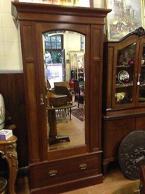 Edwardian Mahogany Single Wardrobe With Mirrored Door