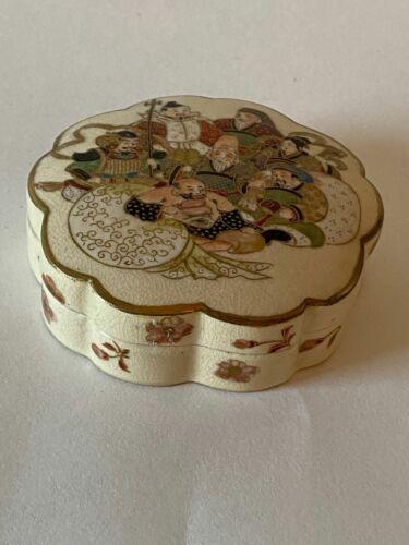 Meiji Japanese Kogo Box Satsuma Incense 7 Lucky Gods Immortals Signed Antique