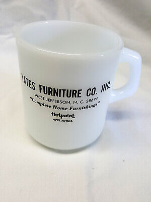 Vintage Galaxy Milk Glass Coffee Mug Advert Yates Furniture West Jefferson NC