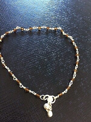 Real silver anklet with brown glass beads