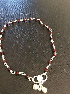 Real silver anklet with maroon glass beads